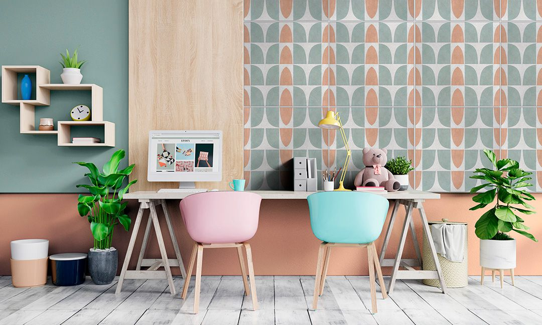 Bright colored tile behind office desk.