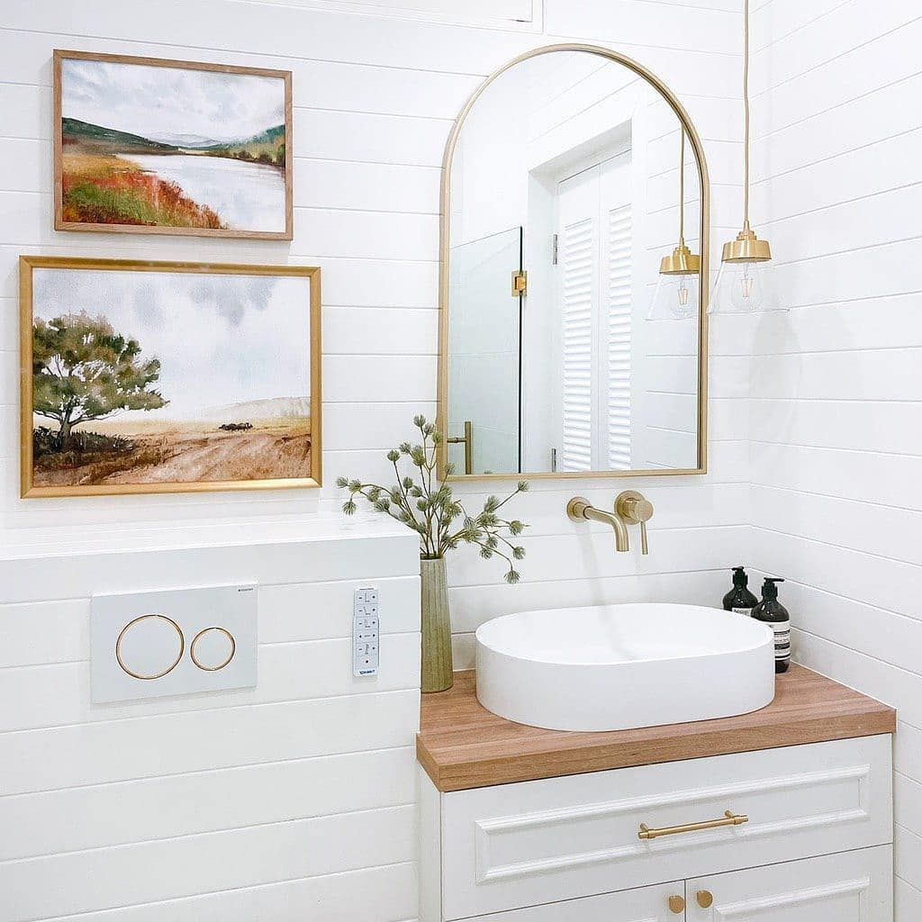 White farmhouse bathroom.