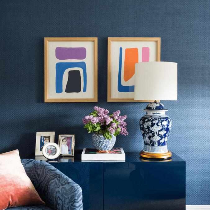 An indigo room filled with indigo decor and furniture