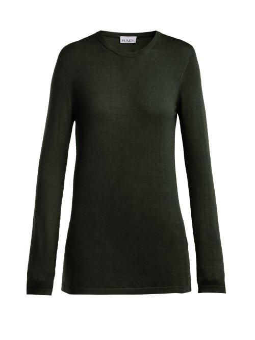 - Long Line Fine Knit Cashmere Sweater - Womens - Dark Green