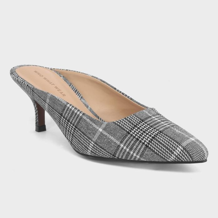 Who What Wear Kaia Plaid Kitten Heeled Mule Pumps