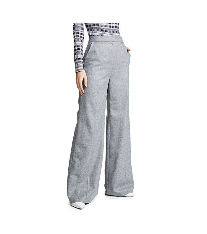 PushButton High Waisted Wide Leg Pants