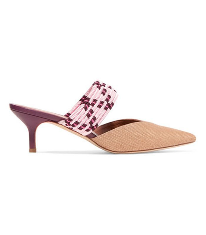 Maisie Cord-trimmed Raffia And Leather Mules