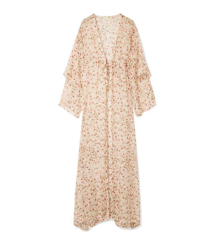 Sunset Floral-print Silk-chiffon Kimono