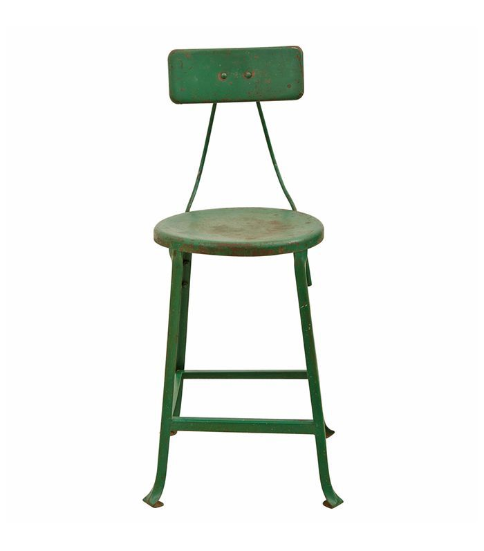 Industrial Green Stool w/ Back Rest