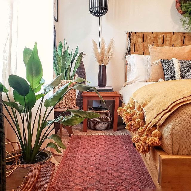 Bird of paradise in a colorful boho bedroom