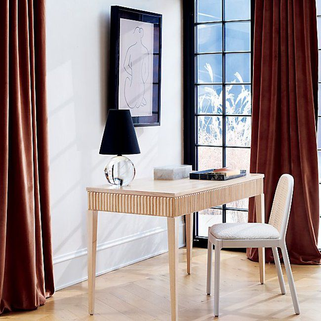 Red curtains in a room