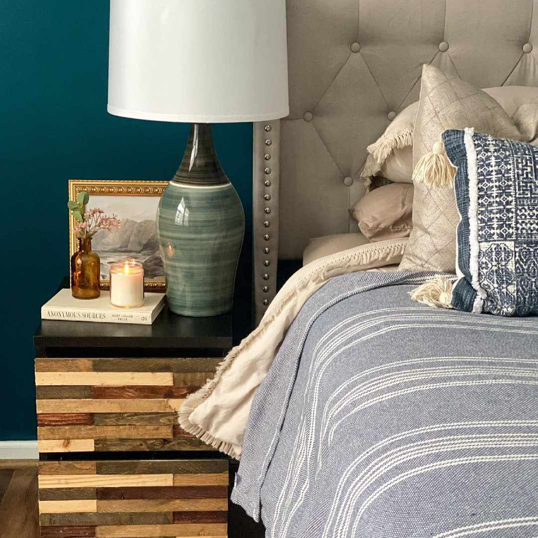 Bedroom with greenish blue paint