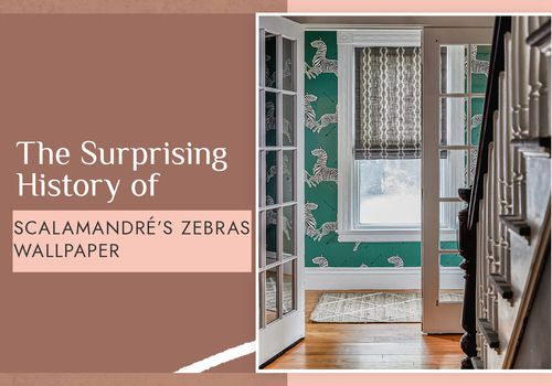history of scalamandré's zebra wallpaper - green wallpaper by staircase