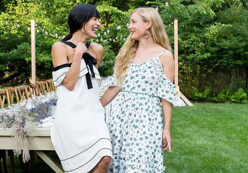summer party ideas from tastemaker Athena Calderone, pictured with a friend