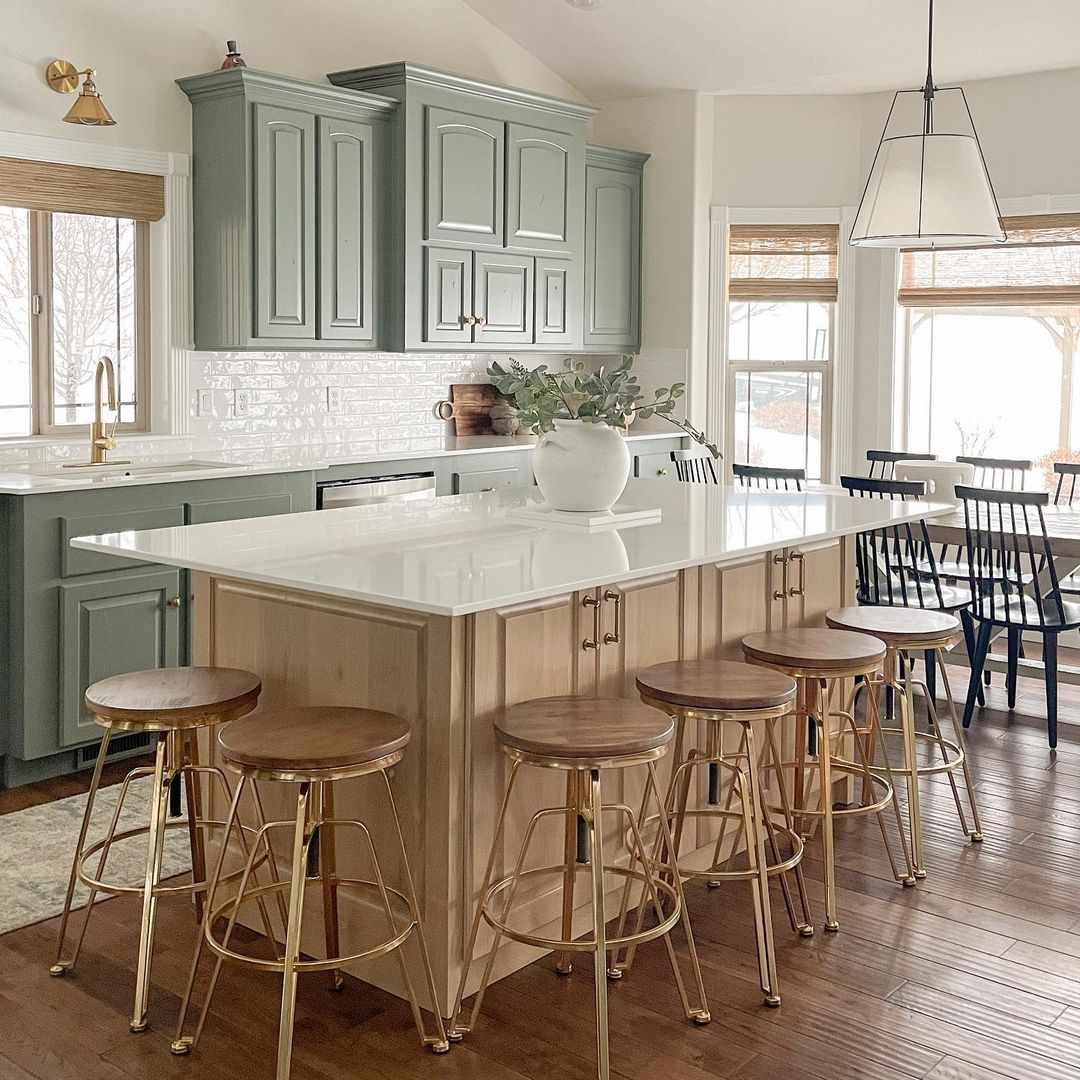 Kitchen with wooden bar stools