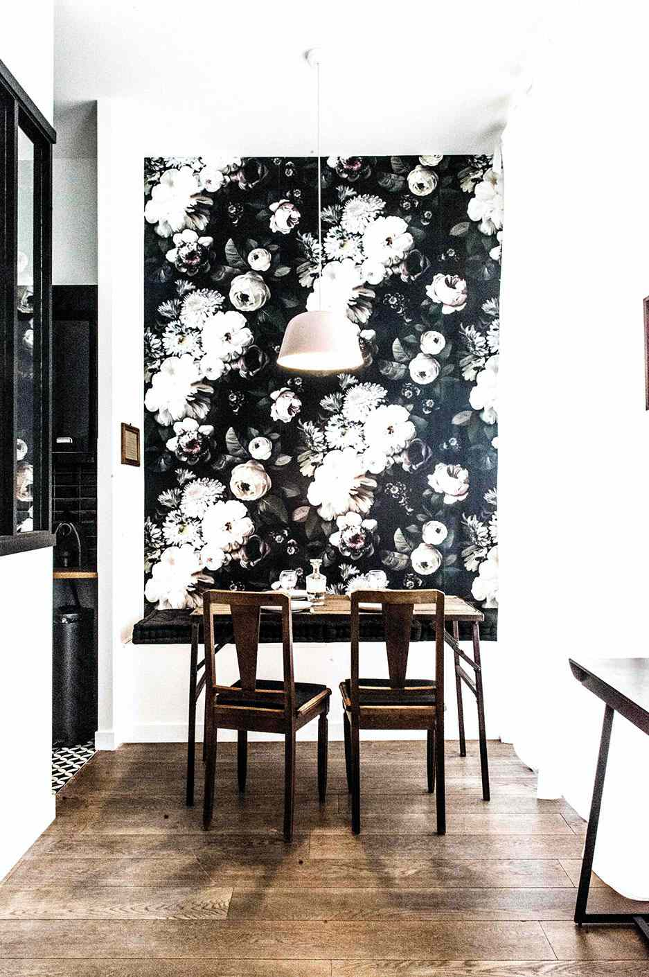 Breakfast nook with floral wallpaper