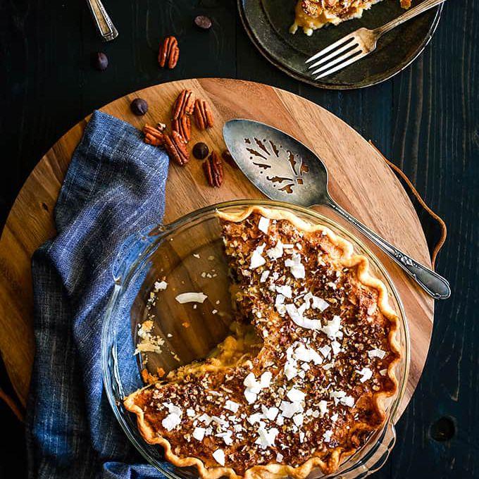 Chocolate Pecan Coconut Custard Pie