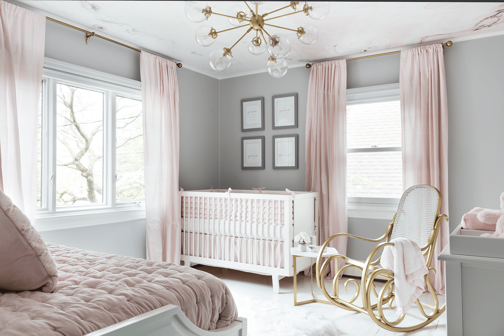 gray and pink bedroom nursery
