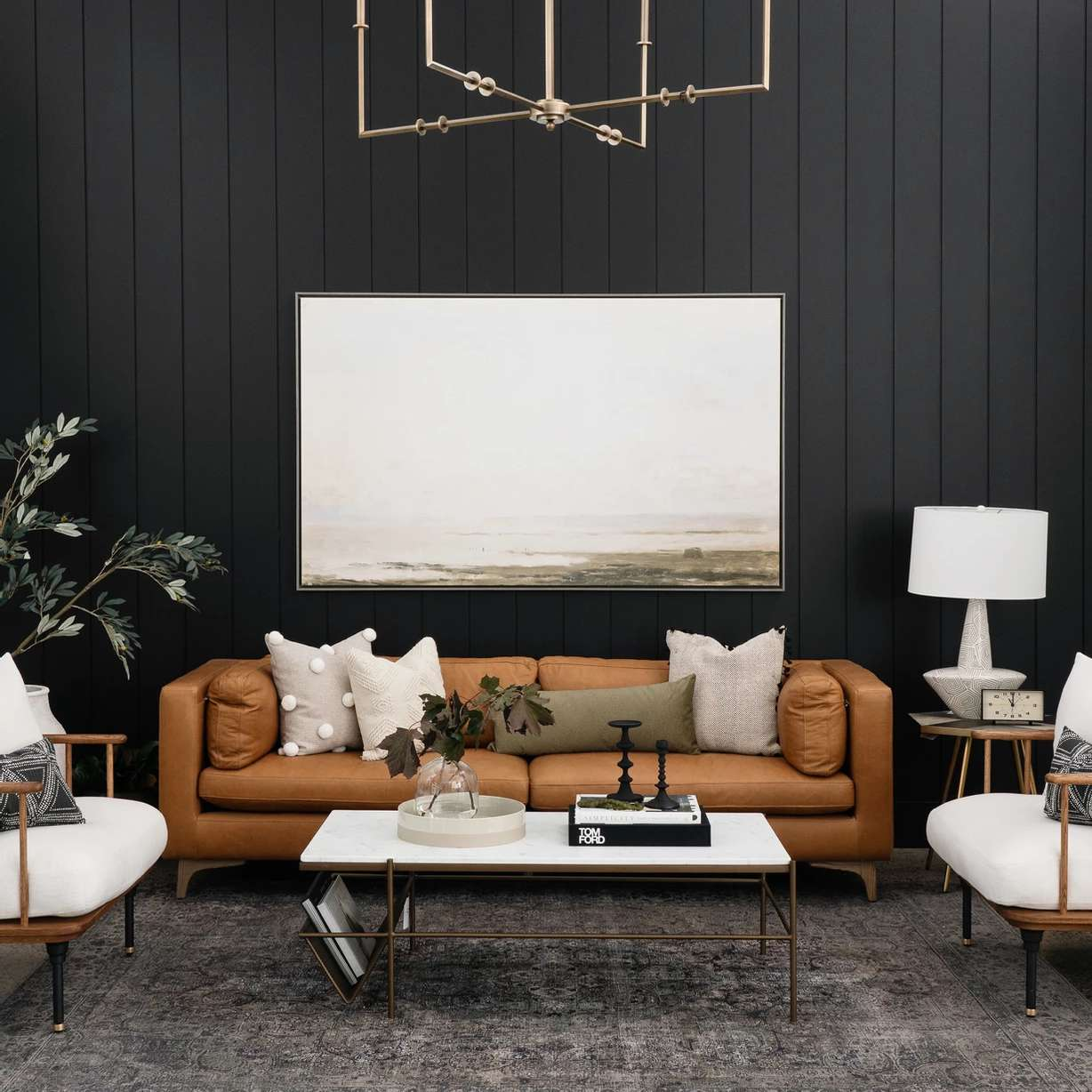 Moody living room with dark panelling