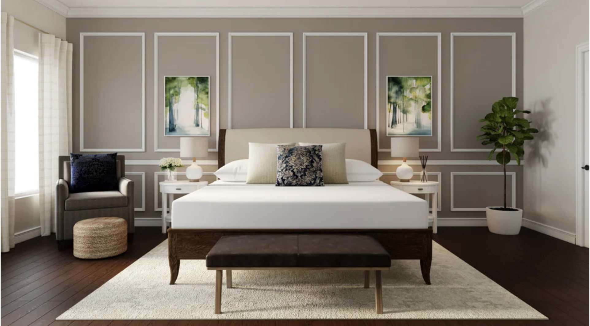 bedroom with white trim molding