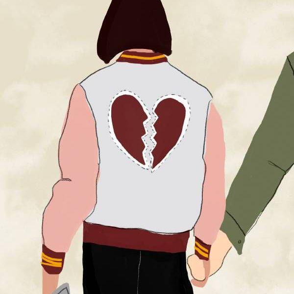 Una ilustración de una pareja caminando tomados de la mano desde atrás
