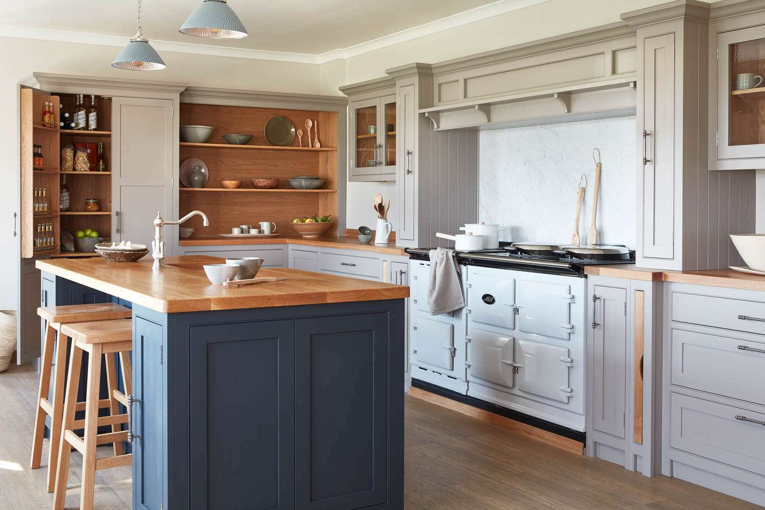Kitchen with blue vintage stove.