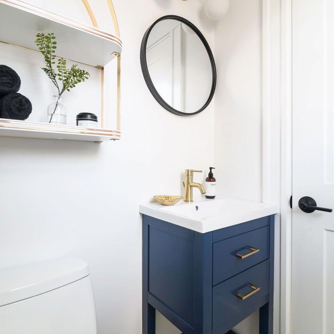 Blue vanity in bathroom