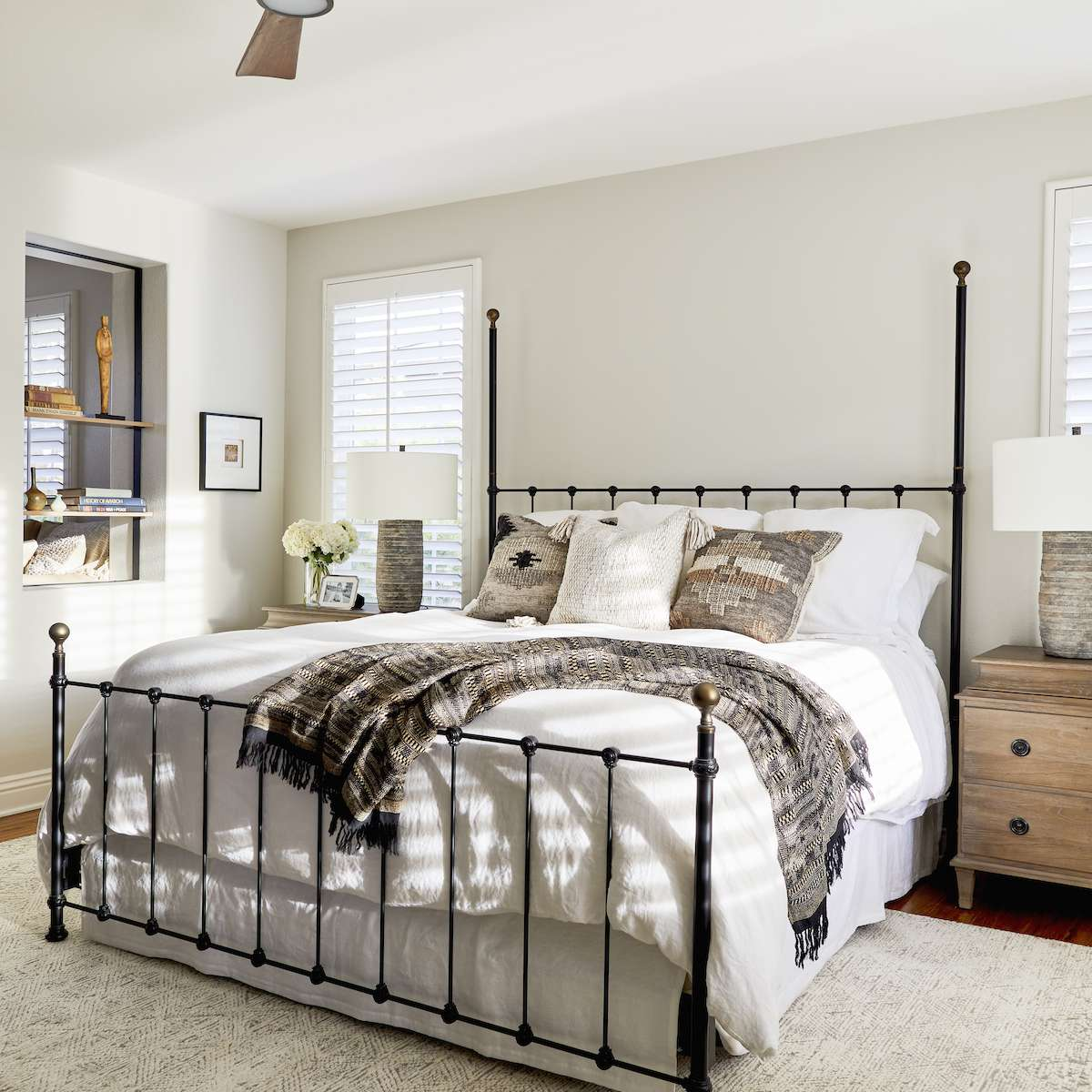 Bedroom with linen shades