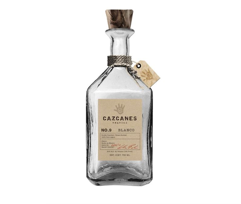 A glass bottle of Cazcanes Blanco tequila.