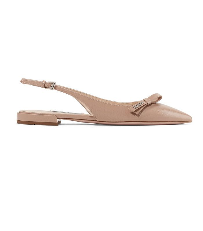 Glossed Textured-leather Slingback Flats