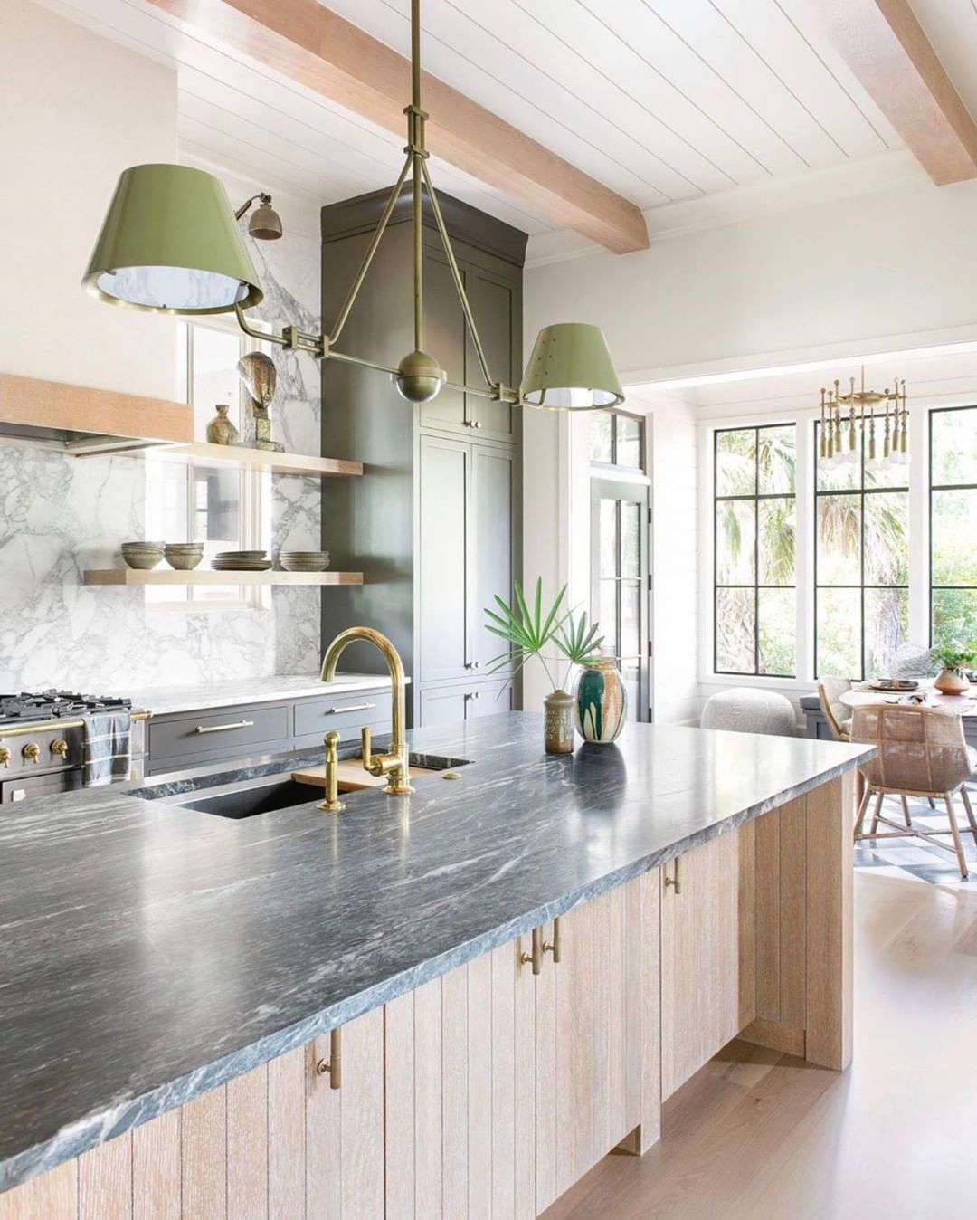 kitchen with shiplap ceiling