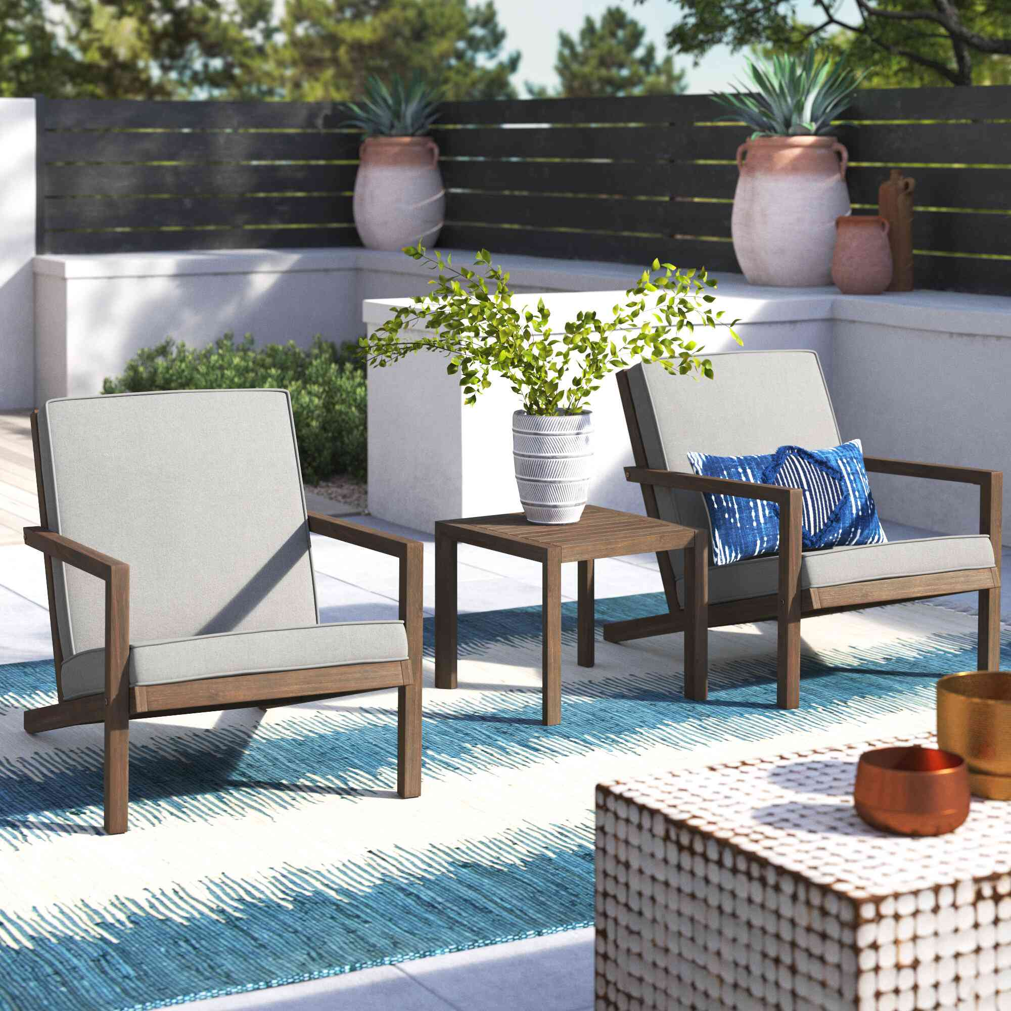 Joss & Main Gillain 3-Piece Seating Group with Cushions