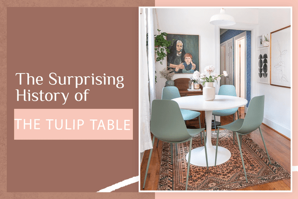 Tulip table in modern and colorful dining room.