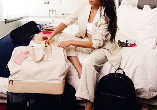 Shay Mitchell with Beis Luggage