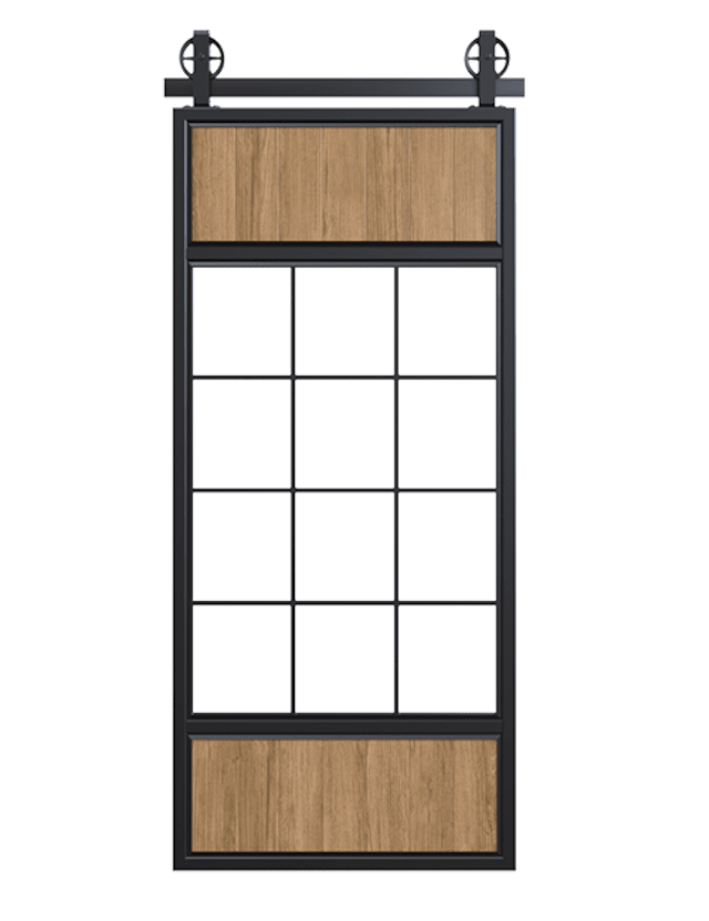 Two Wood Panel French Sliding Barn Door