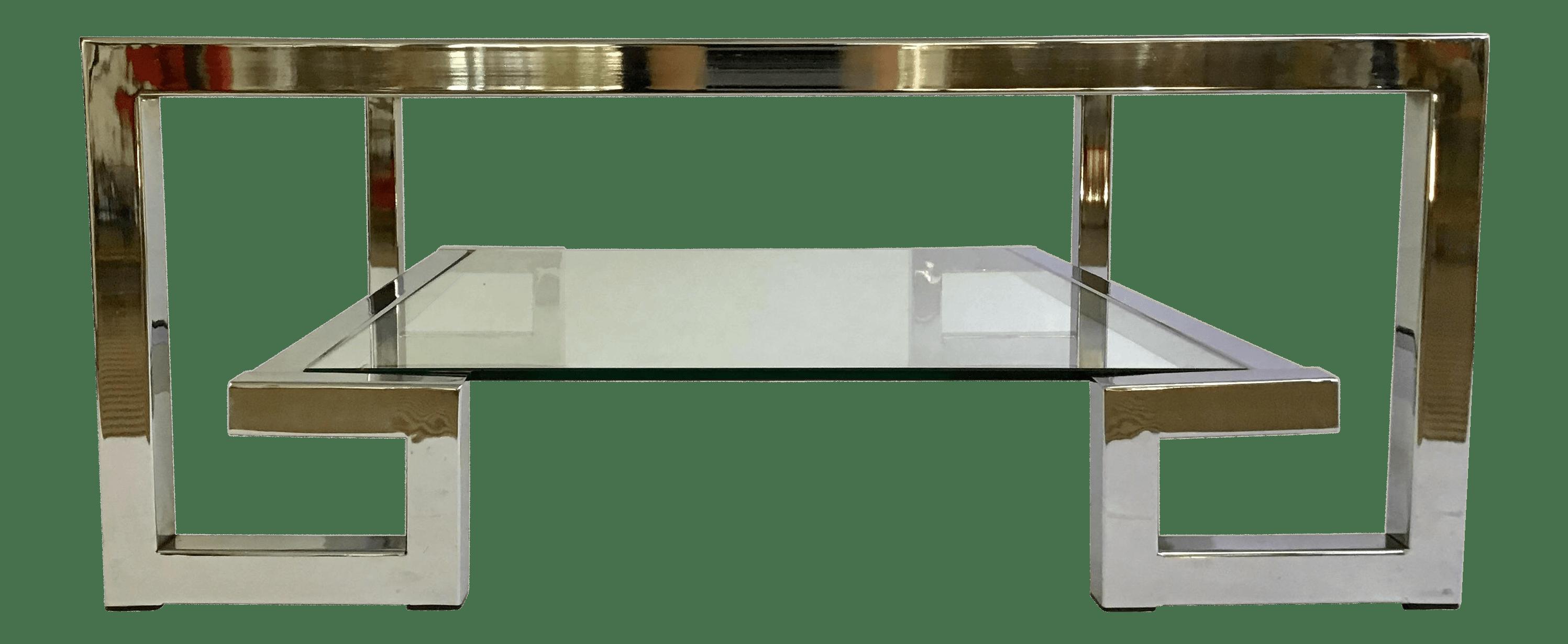 1970s Modern Chrome Greek Key Coffee Table