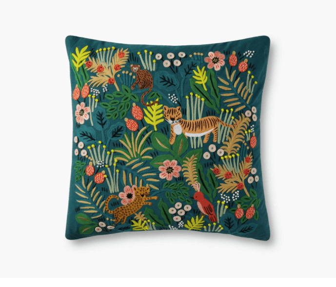 Jungle Embroidered Pillow