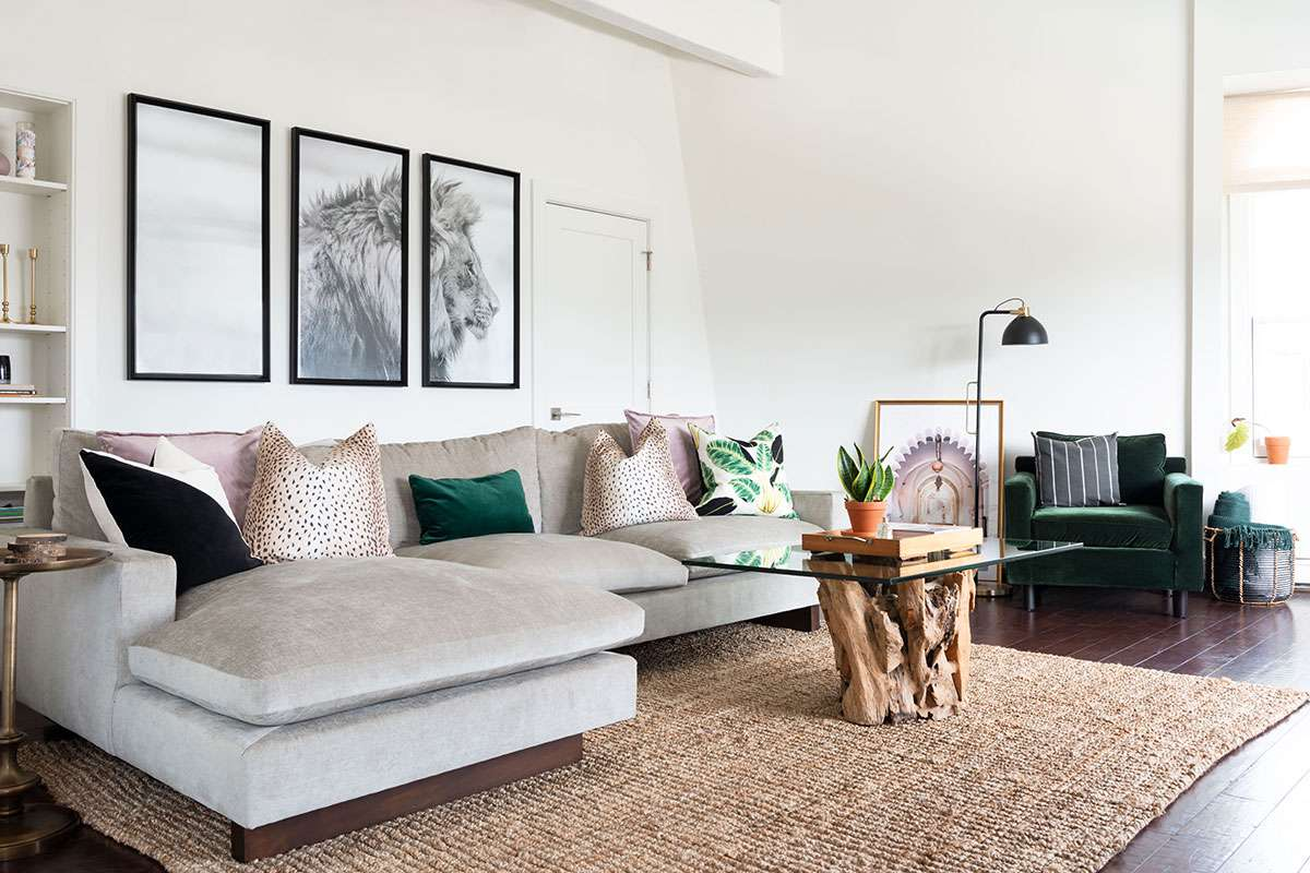 White living room with large jute rug.