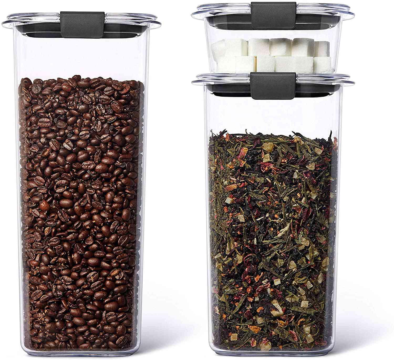 Rubbermaid Brilliance Plastic Food Storage Pantry Grains and Coffee Set