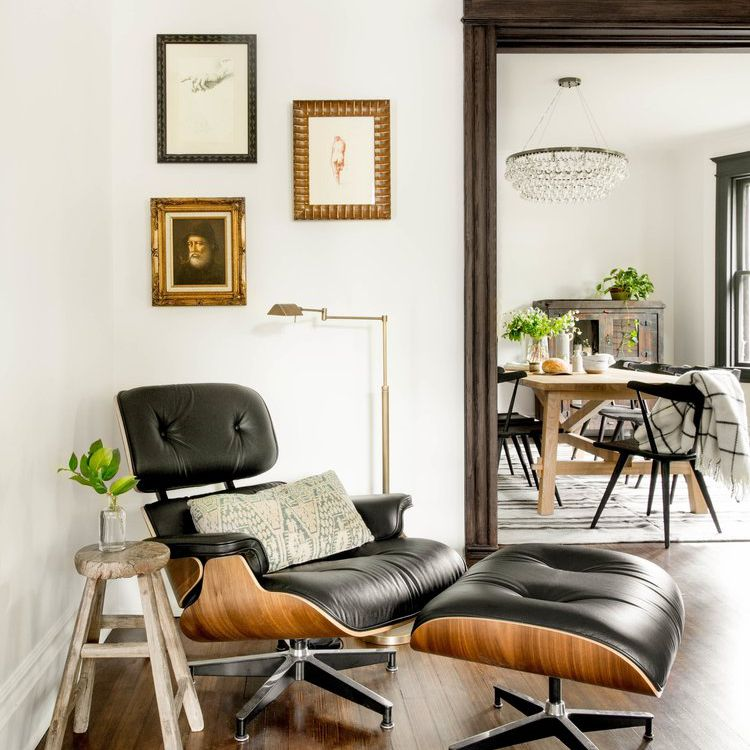 A corner decorated with a midcentury modern design classic: the Eames lounge chair