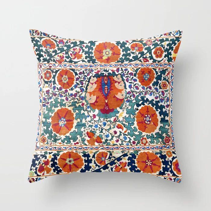 Vicky Brago-Mitchell Shakhrisyabz Suzani Uzbekistan Antique Embroidery Print Throw Pillow