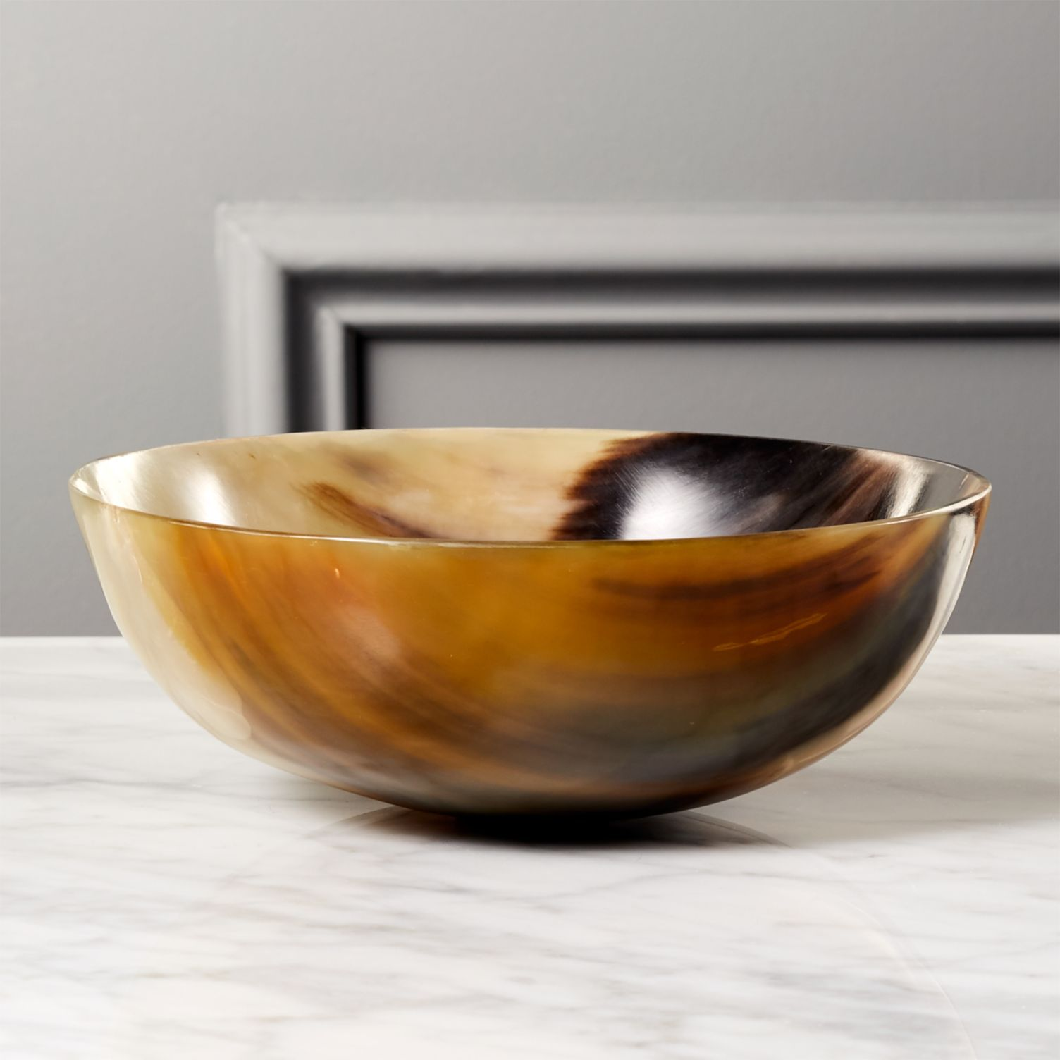 A large bowl made of horn by CB2.