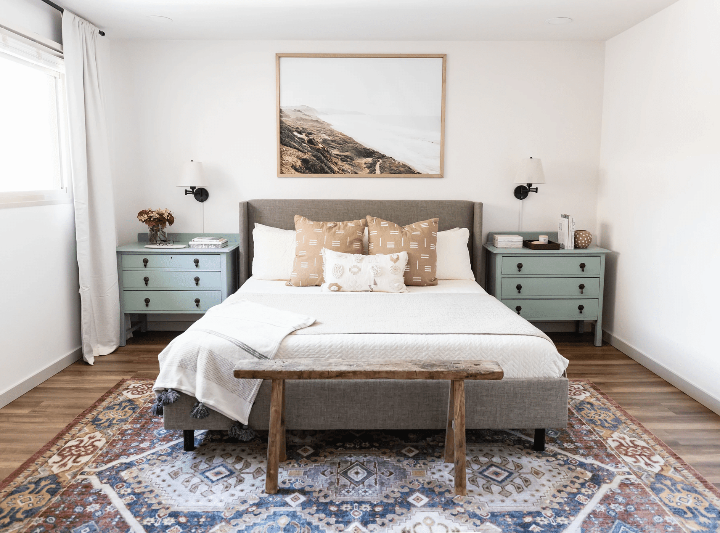 Bohemian bedroom with matching side tables.