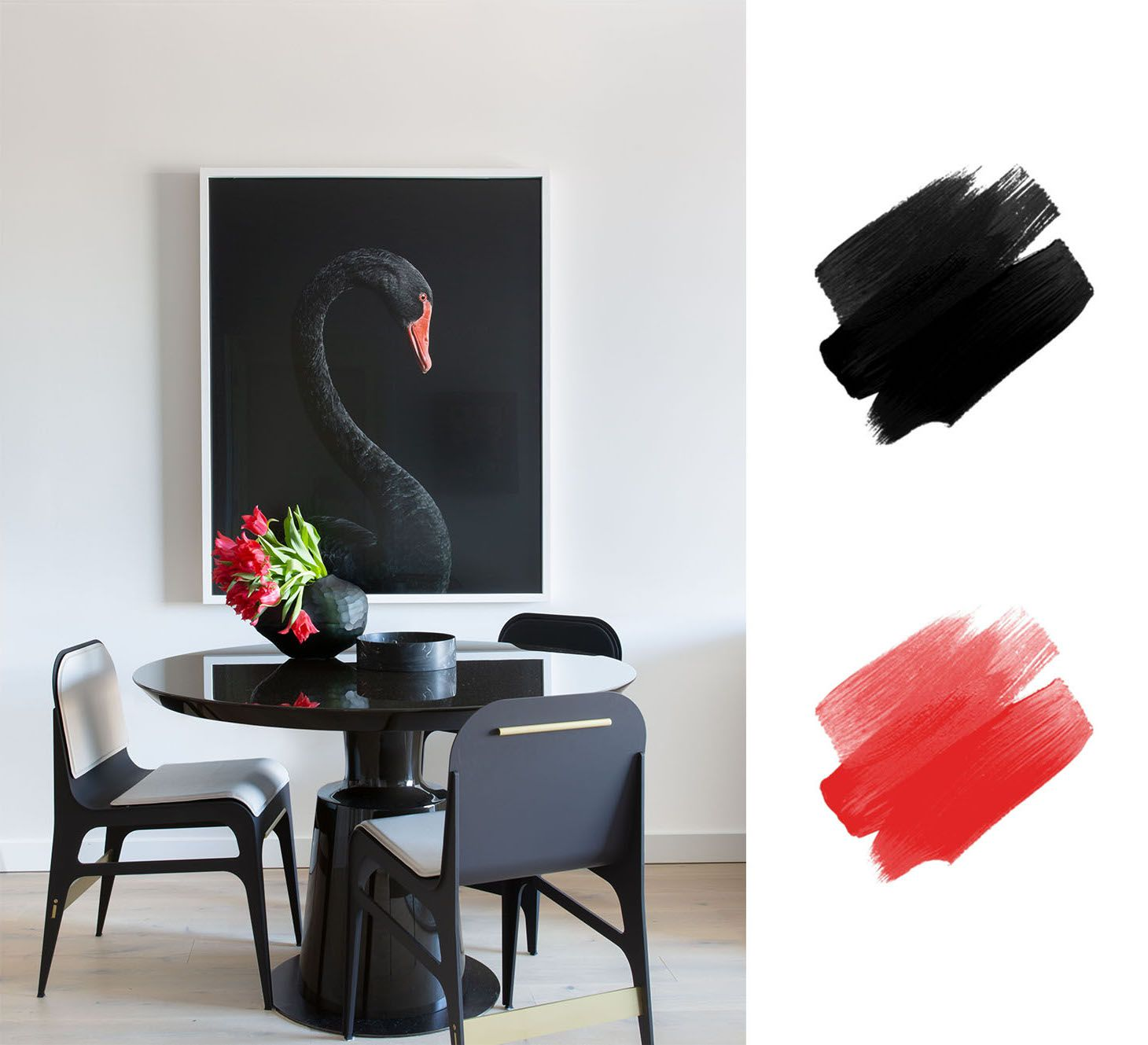 best interior color schemes - red and black