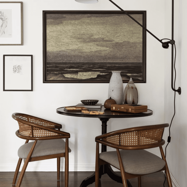 A small dining nook tucked away in a corner
