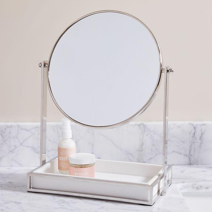West Elm Modern Resin Stone Vanity Mirror - Polished Nickel