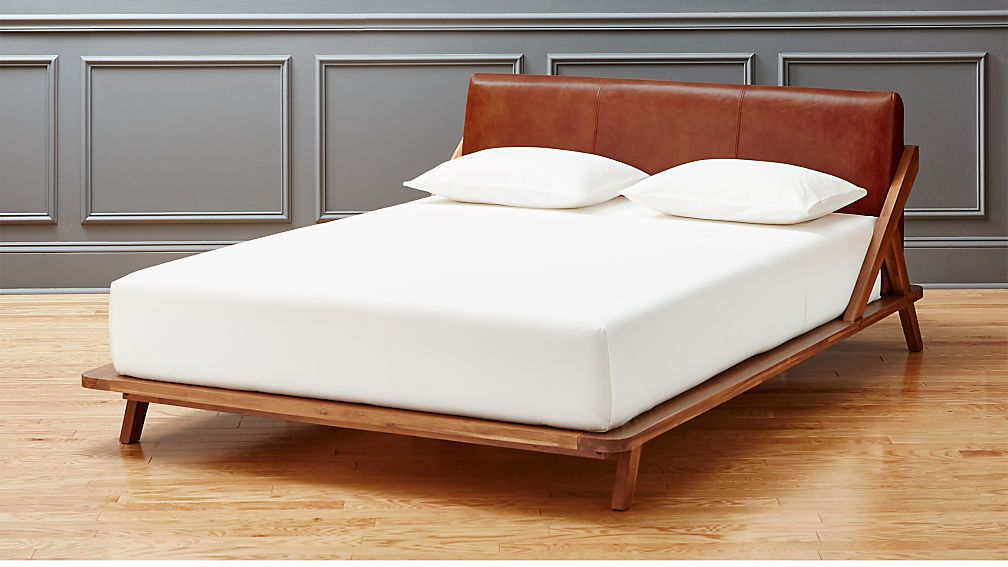 CB2 Drommen Acacia Queen Bed with Leather Headboa