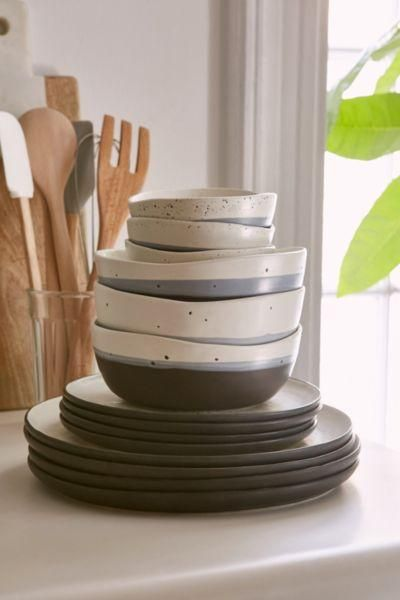 16-Piece Speckle Stoneware Dinnerware Set - White One Size at Urban Outfitters