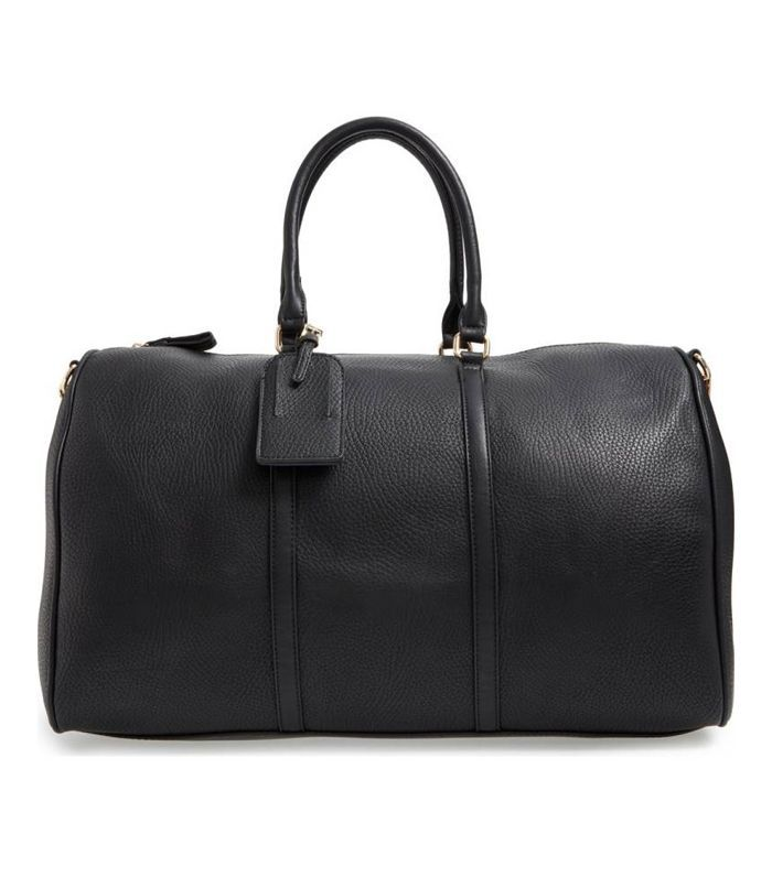 'Lacie' Faux Leather Duffel Bag - Black