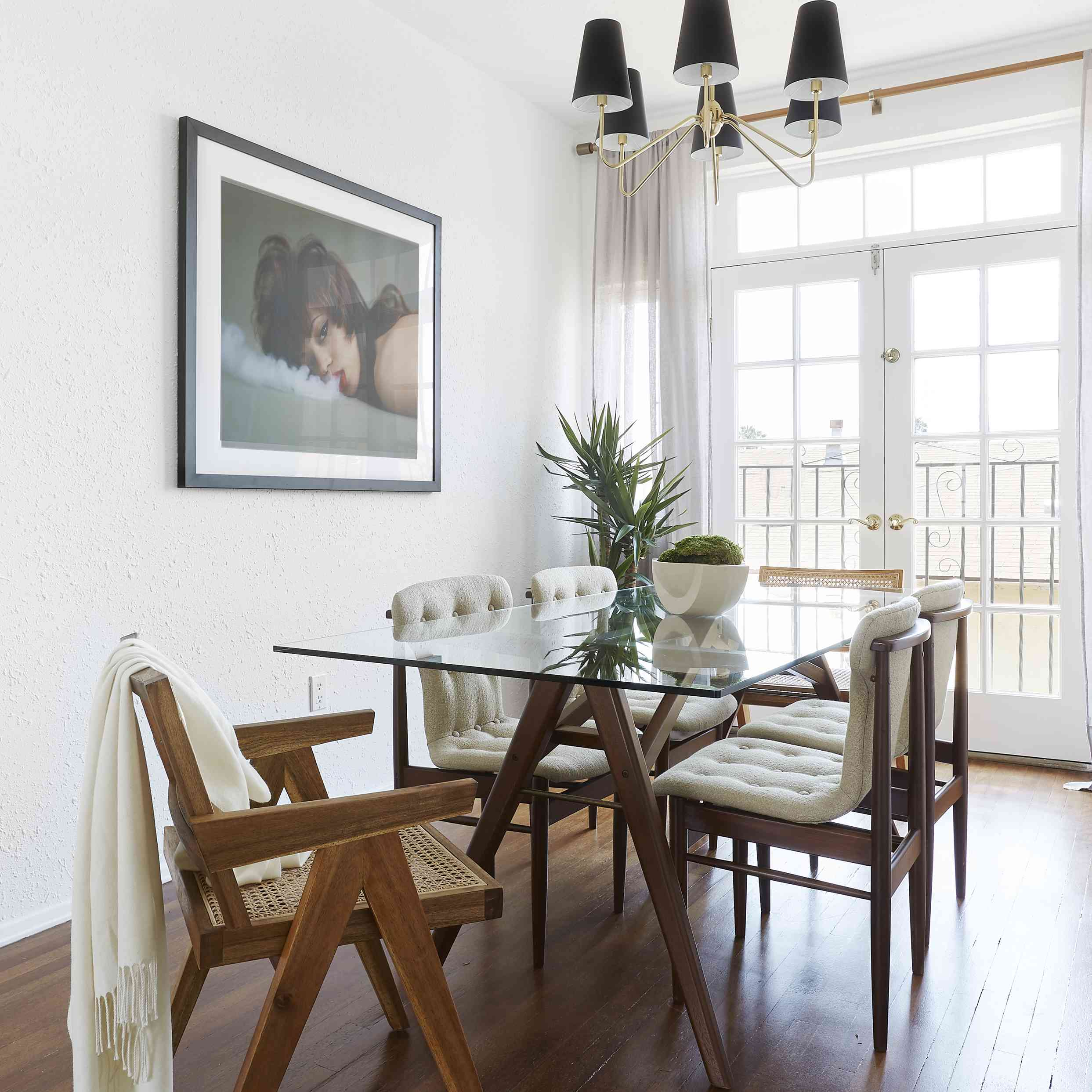 dining room with modern traditional chandelier
