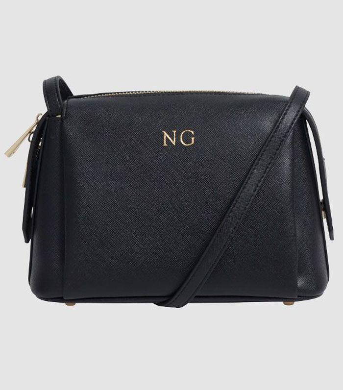 TDE Black Vegan Structured Crossbody Bag