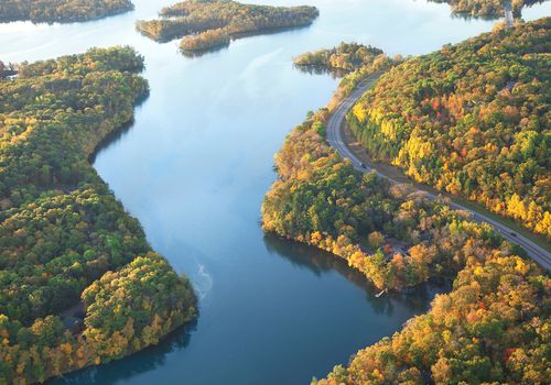 Aerial View Of Mississippi River Amidst Forest