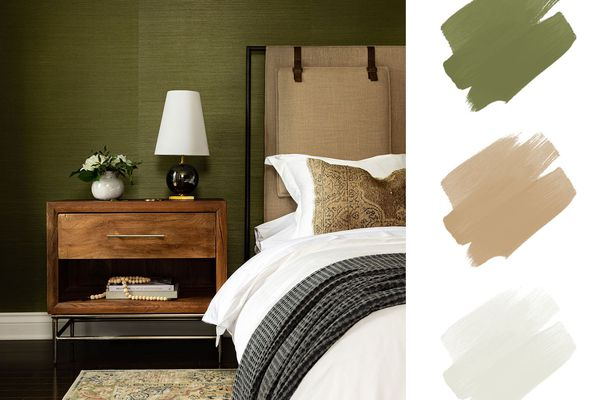 best interior color schemes, green and tan and white