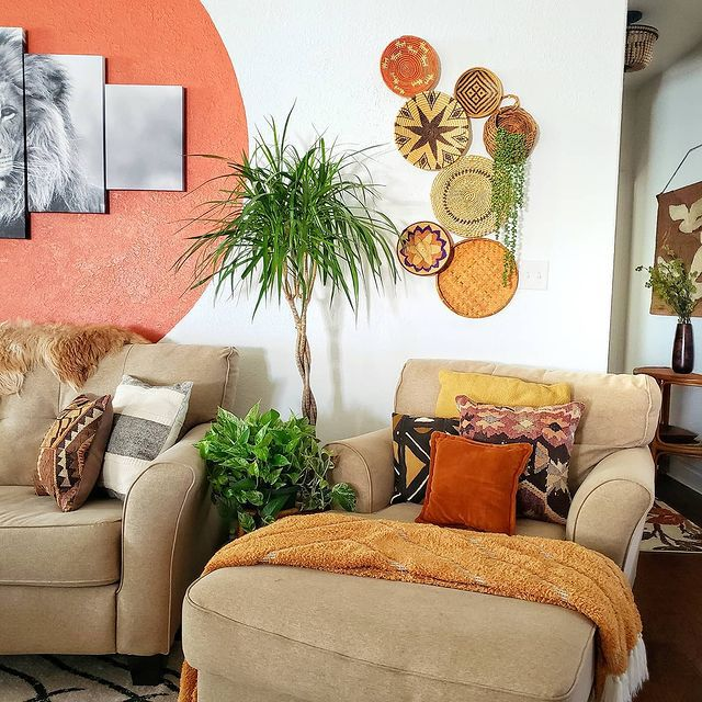 Dragon tree and various plants in a global living room